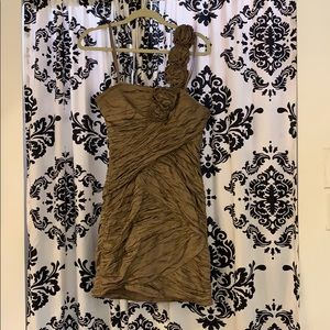 Beautiful, bronze, one shoulder BCBG dress
